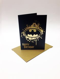 Batman inspired birthday card, with the bat symbol printed in matt gold foil. Size A6. by SuperCoolCards on Etsy https://www.etsy.com/listing/175991744/batman-inspired-birthday-card-with-the