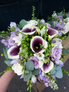 Purple calla lily for brides bouquet www.flourishfloristry.co.uk