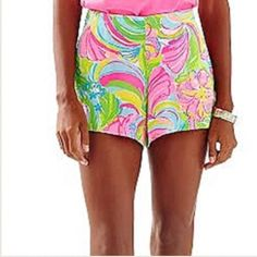 Lilly Pulitzer Jeannie Short 8 Multi  NWT. Lilly Pulitzer Jeannie Short 8 Multi so a peeling NWT. Lilly Pulitzer Shorts