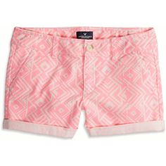 American Eagle Rolled Midi Shorts (26 CAD) ❤ liked on Polyvore featuring shorts, bottoms, pants, pink, low rise shorts, rolled shorts, american eagle outfitters, midi shorts and roll up shorts