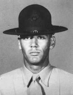 """""""Gunny"""" R. Lee Ermey back in the day when he actually was a USMC Drill Instructor."""
