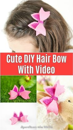 Turn felt and foam paper into an adorable no-sew bow that is perfect for styling little girls hair! A cute bow is easy to make with these simple directions! #NoSew #HairBow #DIYHairBow #DIYCrafts #FeltCrafts #KidsCrafts