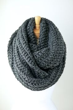 Oversized chunky crochet scarf in CHARCOAL GRAY / dark gray, extra long infinity scarves, men's scarves