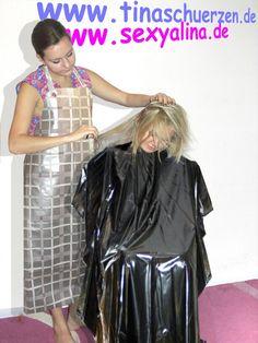 Pvc Apron, Apron Dress, Punishment Haircut, Long Hair Cuts, Long Hair Styles, Forced Haircut, Plastic Aprons, Blouse Nylon, Barber Apron
