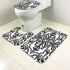 3 Piece Geometric Wave High Pile Bathroom Set Contour Rug Toilet Lid Cover Black