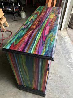 Funky Painted Furniture, Refurbished Furniture, Colorful Furniture, Paint Furniture, Repurposed Furniture, Unique Furniture, Furniture Projects, Furniture Makeover, Furniture Decor