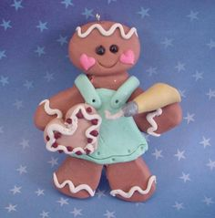 Polymer Clay Christmas Ornament Ginger I might try and make her :) Polymer Clay Ornaments, Polymer Clay Figures, Fimo Clay, Polymer Clay Charms, Polymer Clay Creations, Gingerbread Crafts, Christmas Gingerbread, Gingerbread Cookies, Christmas Ornaments