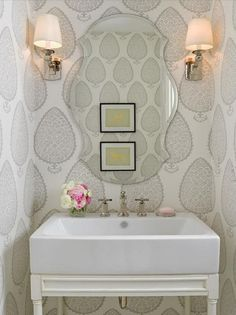 Photography Gallery Sites Wallpaper for Powder Rooms Transitional bathroom Bria Hammel Interiors