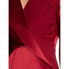 Dion Lee Long-sleeved silk-satin dress ($957) ❤ liked on Polyvore featuring dresses, red long sleeve cocktail dress, longsleeve dress, lace up dress, evening wear dresses and red long sleeve dress