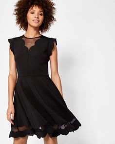 77d420f3a9ef1 Scallop detail skater dress - Black