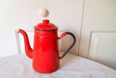 Vintage red enamel French serving Pot by houuseofwren on Etsy