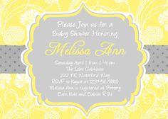 Damask Baby Shower Invitation Yellow Gray Printable Custom Invite. $16.00, via Etsy.