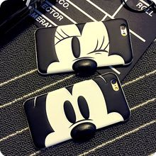 Minnie Mickey Mouse Donald Duck Protective Phone Case For iPhone 6 6 plus 3D Cute Leather Smile/Angry Emoji Free Shipping(China (Mainland))