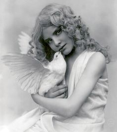 Lovely girl with dove 1902 by autumnsensation, via Flickr