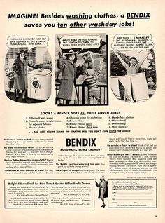 1941 Bendix Washing Machines Original Print Ad Large Single Ad - Between 10 x 13 to 11 x 14 inches, suitable for framing.