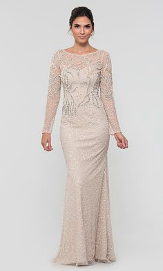 Shop Adrianna Papell long beaded MOB dresses at Kleinfeld Bridal Party. Biscotti nude formal mother-of-the-bride dresses and cap-sleeve v-neck MOB dresses with beaded embroidery, sequins, and godets. Evening Dresses With Sleeves, Mob Dresses, Formal Evening Dresses, Dresses For Teens, Simple Dresses, Pretty Dresses, Chiffon Evening Dresses, Wedding Dresses, Mother Of The Bride Dresses Long