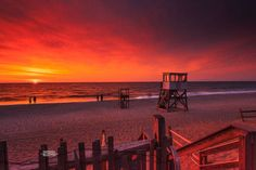 Cape Cod, Massachusetts, Orleans. Out of the ordinary sunrise and red sky Today at Nauset beach. Photo by Dapixara https://dapixara.com