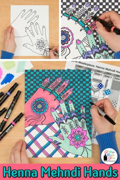 Are your students bored with world art history lessons? Why not liven up your cultural art projects for kids with a game?! Check out this mehendi hands art lesson inspired by India. Fill up your sub plan folder with no-prep teacher resources that are easy to implement. Great for distance learning, too! Picture directions, assessment rubric, reflection sheets, a coloring page, and I CAN statements aligned to the Studio Habits of Mind are included. Perfect for middle school! | Glitter Meets… Art Games For Kids, Art Lessons For Kids, Art Lessons Elementary, Traditional Henna Designs, Art Sub Plans, Habits Of Mind, Art History Lessons, Drawing Activities, Arts Integration