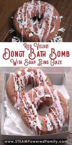 Red Velvet Donut Bath Bombs with Soap Icing Glaze Mason Jar Projects, Mason Jar Crafts, Mason Jar Diy, Diy Hanging Shelves, Floating Shelves Diy, Red Velvet Donuts, Galaxy Bath Bombs, Bombe Recipe, Bath Bomb Recipes