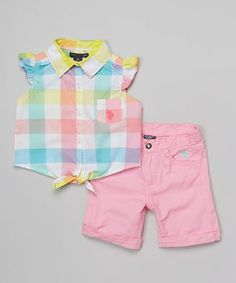 Look at this #zulilyfind! Yellow Plaid Button-Up & Pink Shorts - Infant, Toddler & Girls by U.S. Polo Assn. #zulilyfinds