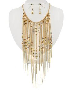 Long Fringe Bib Necklace Golden Chain and Crystal by epicetera