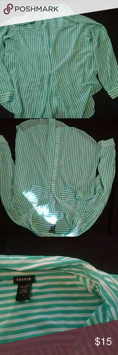 Torrid sheer striped button up blose Size 1 Torrid green and white sheet striped blouse. Gently bused condition. Cute button detail on back. torrid Tops Button Down Shirts