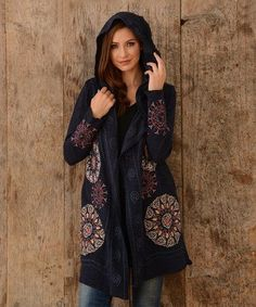 Another great find on #zulily! Navy Embroidered Hooded Cardigan #zulilyfinds
