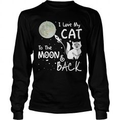 Awesome Tee I LOVE MY CAT TO THE MOON BACK T-Shirts