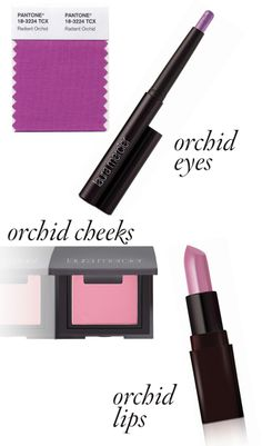 Wear the 2014 Colour of the Year on eyes, cheeks, & lips. Laura's Caviar Stick Eye Colour in Orchid, Second Skin Cheek Colour in Violet Orchid and Crème Smooth Lip Colour in Royal Orchid. #makeup #beauty