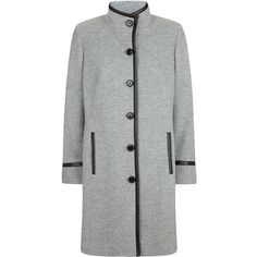 Windsmoor Funnel Mid Wool Coat (1.310 BRL) ❤ liked on Polyvore featuring outerwear, coats, clearance, light grey, woolen coat, windsmoor, funnel neck wool coat, funnel-neck coat and funnel coat