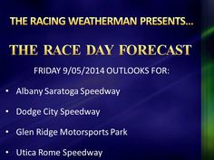 Friday RACE DAY FORECAST update now available at http://racingwxman.weebly.com/raceday-forecast.html