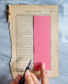 DIY Bookmark Wedding Favors - - perfect for the book-lovin' bride and groom! And you can't beat a price-point of 50 cents per bookmark! Time to cut out the book page rectangles using a cardstock template!