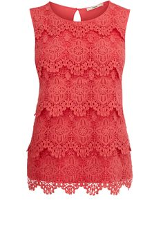 Oasis Clothing | Mid Pink Lace Shell Top