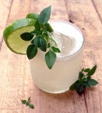 Coctel de G'Vine, zumo de limón y albahaca 1