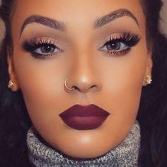 Makeup Looks Beauty Makeup Gorgeous Makeup Flawless Makeup Makeup On Fleek, Flawless Makeup, Gorgeous Makeup, Love Makeup, Bold Lip Makeup, Fresh Makeup, Dark Skin Makeup, Simple Makeup, Dark Lipstick Makeup