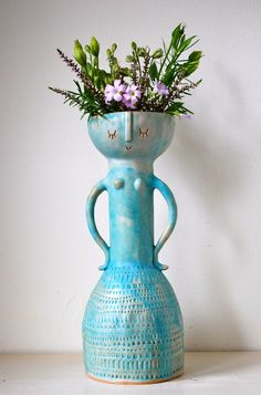 Large Turquoise Lady Vase