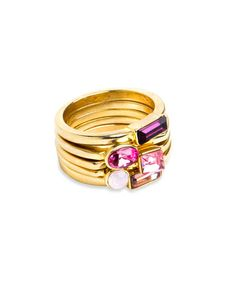 Pink Posy Rings - Stacked rings, each with a unique stone.