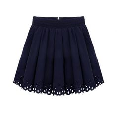 Saia Rodada com detalhe laser cut trim navy pleated skater skirt