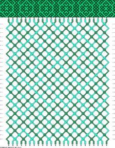 Friendship bracelet pattern - 24 strings, 2 colors - dots, cross, x, grid, lattice, pretzel, celtic