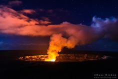 Lava steam vent glowing at night in the Halemaumau Crater, Hawaii Volcanoes National Park, Hawaii / © Russ Bishop ~ Click image to purchase a print or license