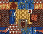 Nighttime Woodland in Multi - NUTTY BUDDIES - Fun-C3052 - Timeless Treasures Fabric - 1 yard