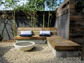 Concrete and wood seating
