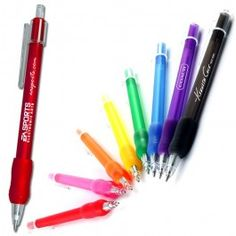 The PromoKlic Pen - Slim body, bright colored retractable pen, with matching rubber grip.
