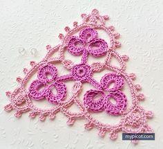 ergahandmade: Crochet Motif + Diagram + Free Pattern Step By Step Triangle En Crochet, Crochet Paisley, Crochet Motifs, Freeform Crochet, Crochet Stitches Patterns, Crochet Diagram, Crochet Chart, Crochet Squares, Thread Crochet