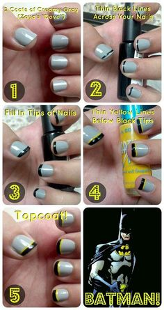 nice Very Easy & Step By Step Batman Nail Art Tutorials For Beginners & Learners 2014...