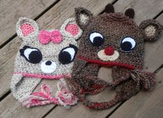 reindeer crochet hat pattern. very cute. this one looks like rudolph. I don't usually buy crochet patterns but this one is tempting