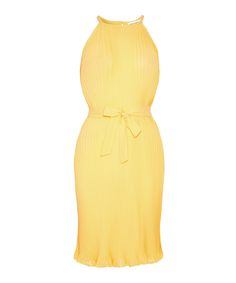 Yellow+bow+detail+pleated+dress+by+Almost+Famous+on+secretsales.com