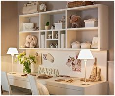 desk and shelf idea for girl's room