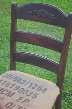 BURLAP CHAIR FROM VINTAGE VISION FURNITURE IN HUDSON, NC.  SEE MORE AT:  http://www.facebook.com/vintagevisionstore