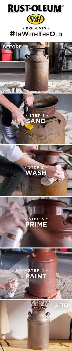 Turn that rusty old milk jug into your newest decoration. Learn how easy it is to transform with Stops Rust.  Whether a vintage piece of decor, dated furniture, rusty metal table or old chair, you can make it look new again with this easy DIY tutorial and Rust-Oleum Stops Rust.